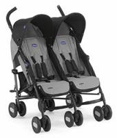 Chicco 6079311220000 Echo Twin Passeggino Gemellare, Nero Carbone (Coal)